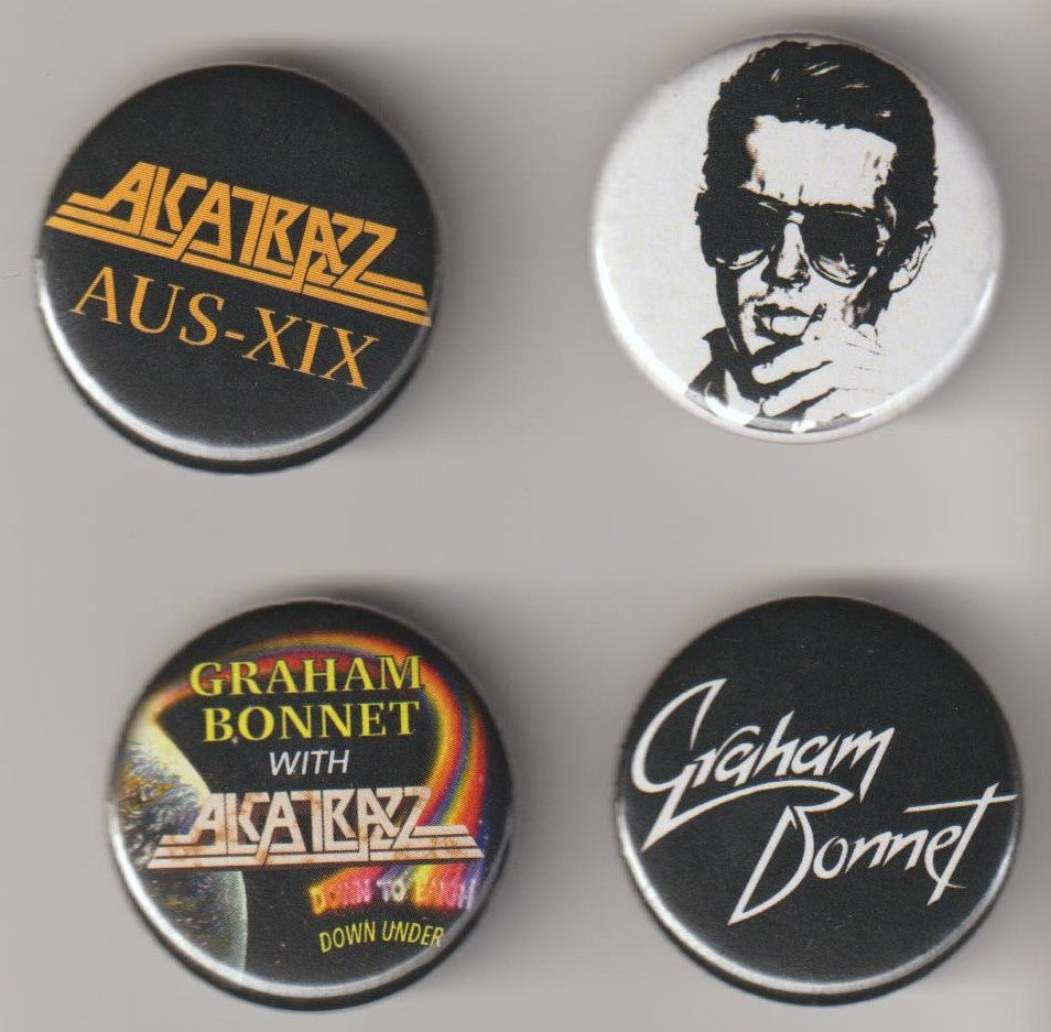 Image of GRAHAM BONNET / ALCATRAZZ - Aussie Tour Badge/Pin set of 4