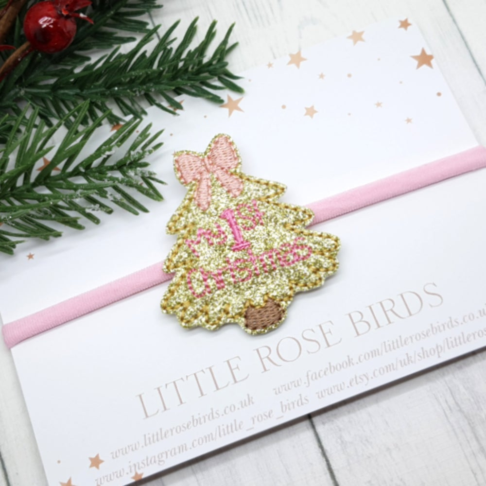 Image of My 1st Christmas Headband - Pink & Gold