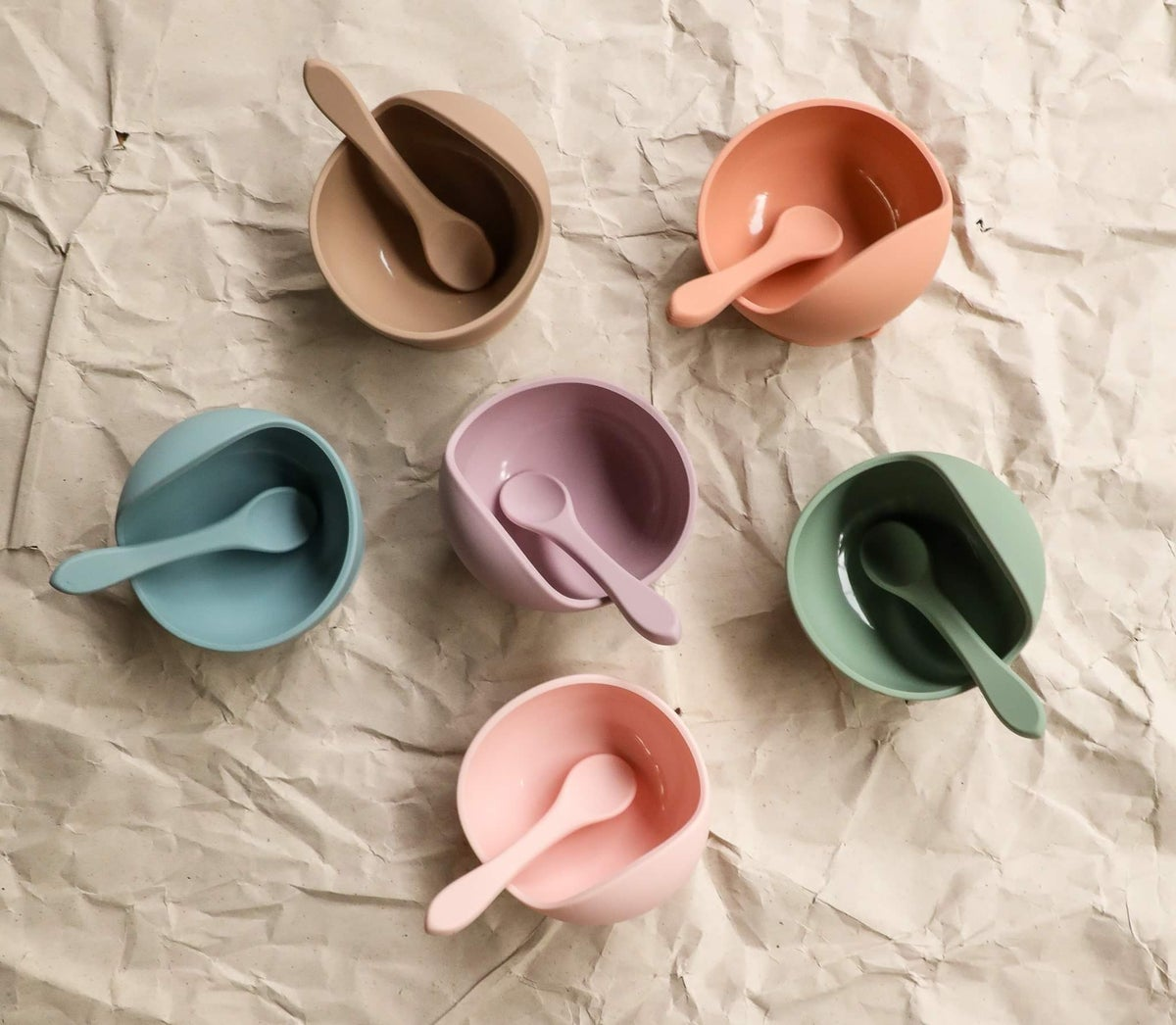 Image of Suction Silicone Bowl and Spoon set