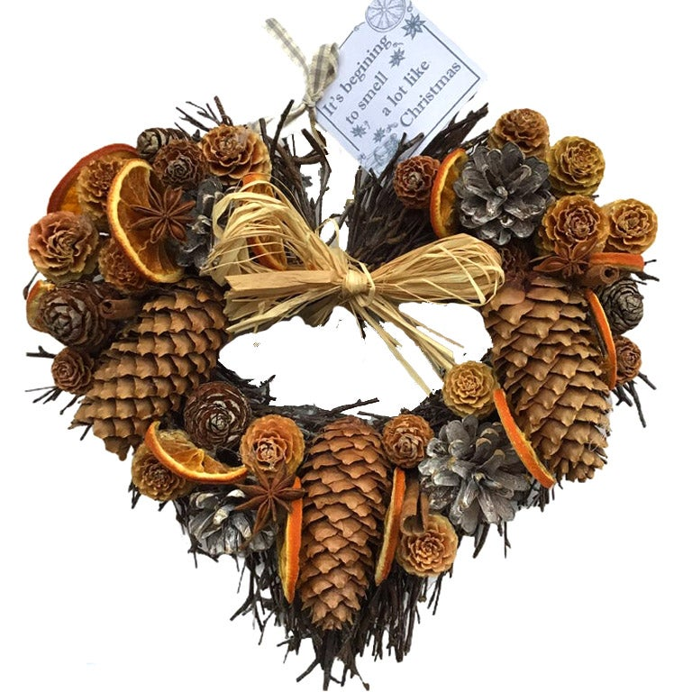 Image of Christmas Cone and Orange Twig Heart Wreath