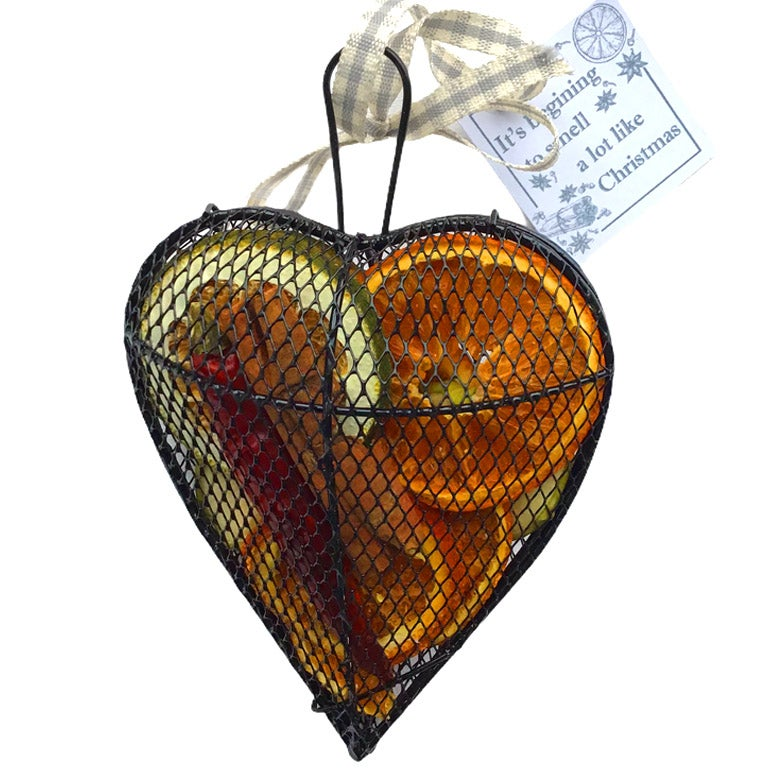 Image of Christmas Scented Hanging dried Fruit Mesh Heart