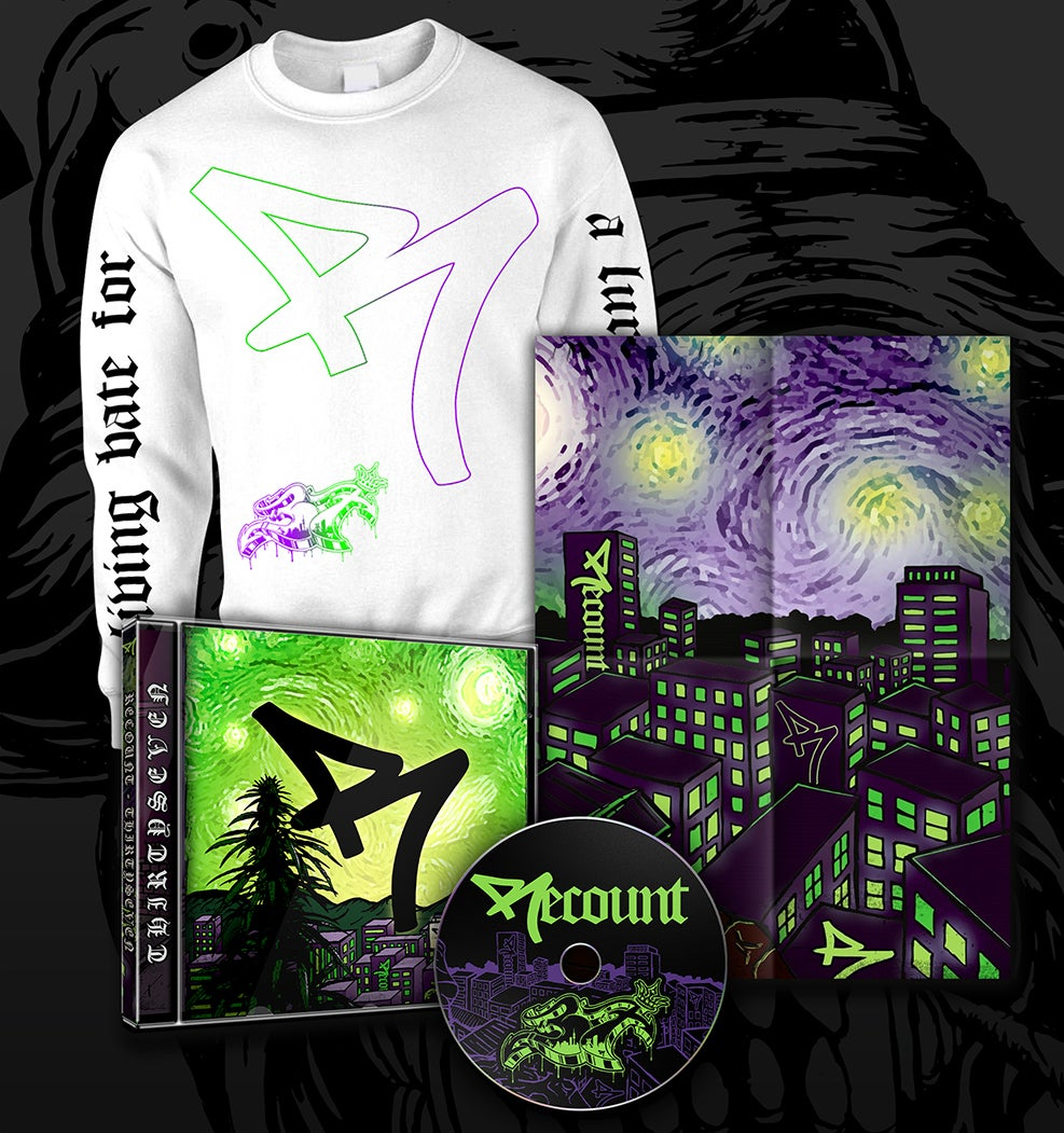 "Image of *BUNDLE* ""37"" FULL LENGTH CD + ""LURKING"" CREWNECK WHITE + EXCLUSIVE POSTER"