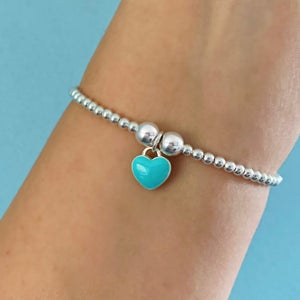 Image of Sterling Silver Turquoise Heart Bracelet