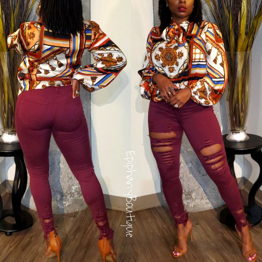 Image of The CiCi Jeans-Burgundy