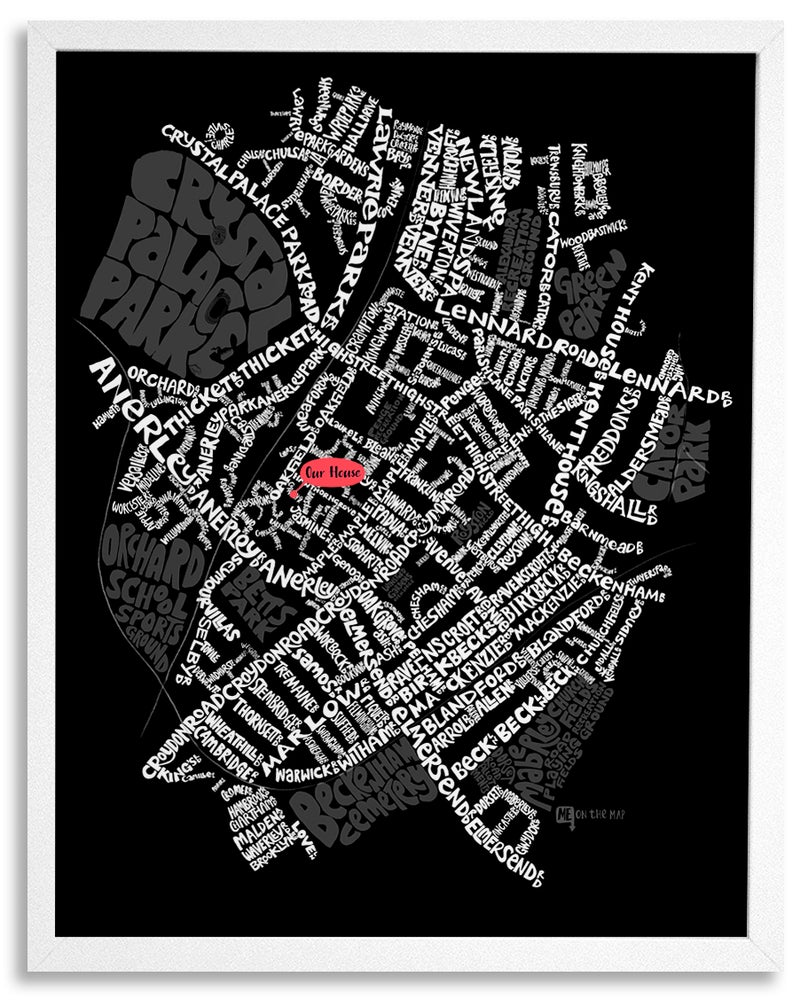 Image of Penge & Anerley SE20 - SE London Type Map - White text on black background