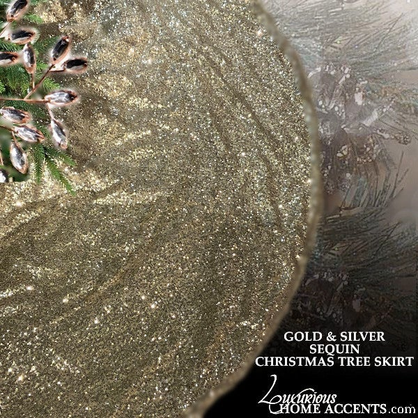 Image of Gold and Sliver Sequin Christmas Tree Skirt