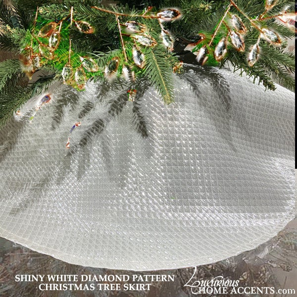 Image of Shiny White Christmas Tree Skirt