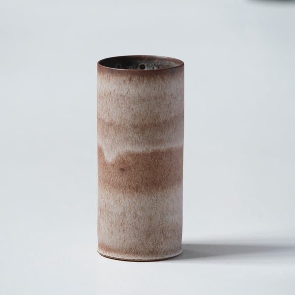 Image of UNIKA CYLINDER IN YELLOW STONEWARE WITH EARTH WHITE GLAZE 1