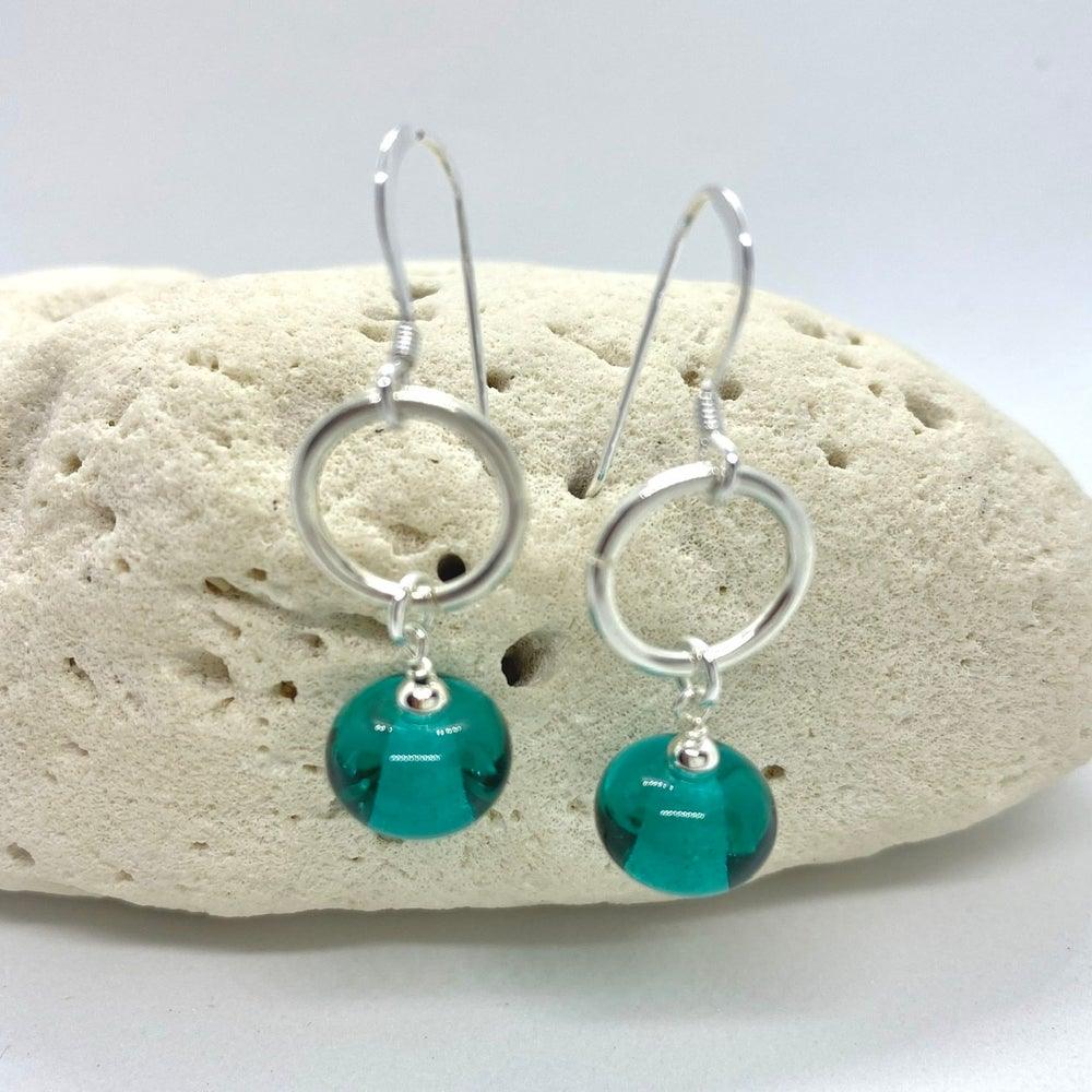 Image of Transparent Teal Ring Earrings