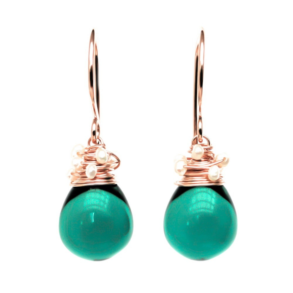 Image of Teal Glass Seed Pearl Earrings