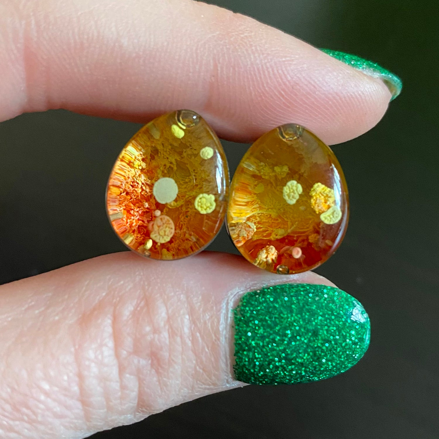 Image of 9/16 Yellow/Red Inky Teadrdrop Plugs