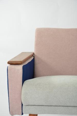 Image of Fauteuil Tricolore rose bleu gris