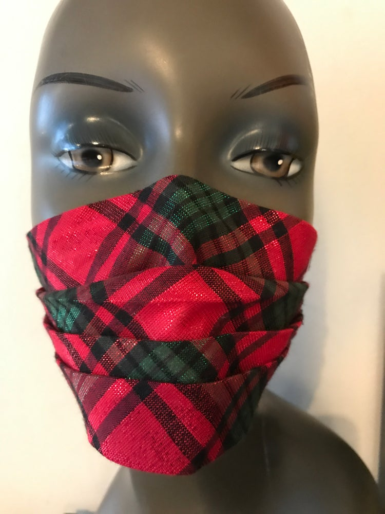 Image of Sparkly tartan face mask