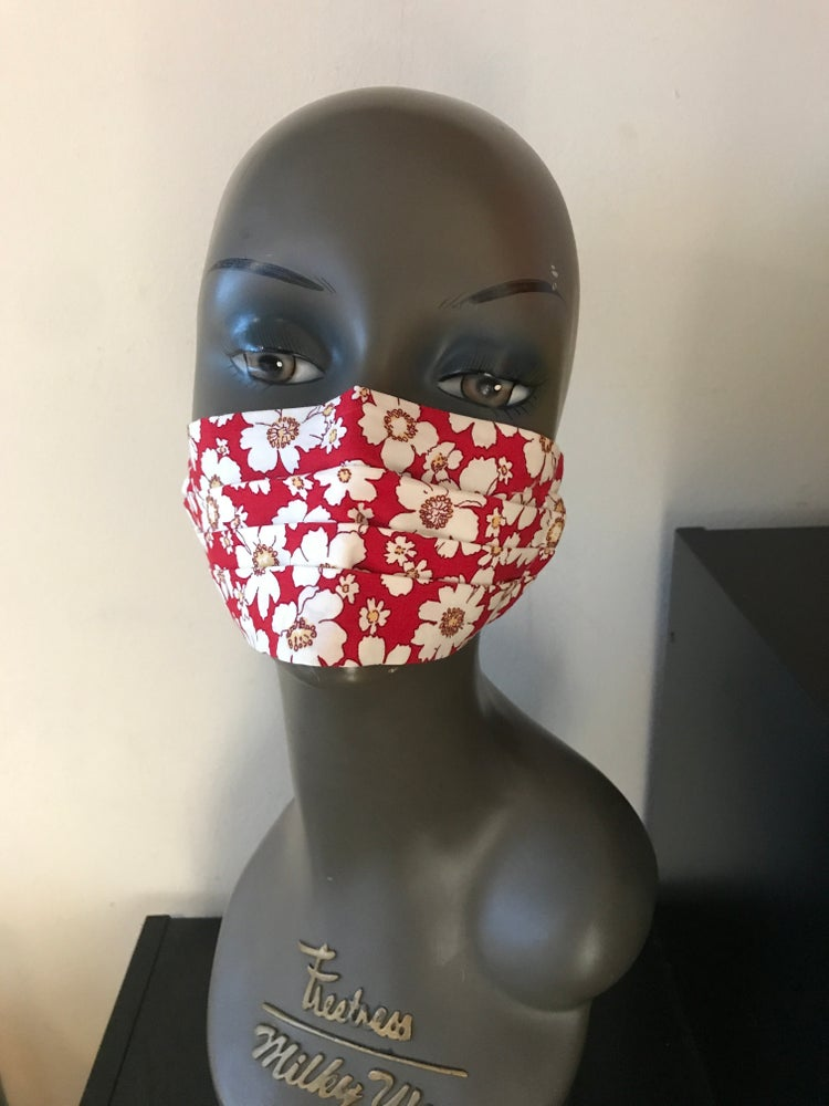 Image of White and red floral face mask
