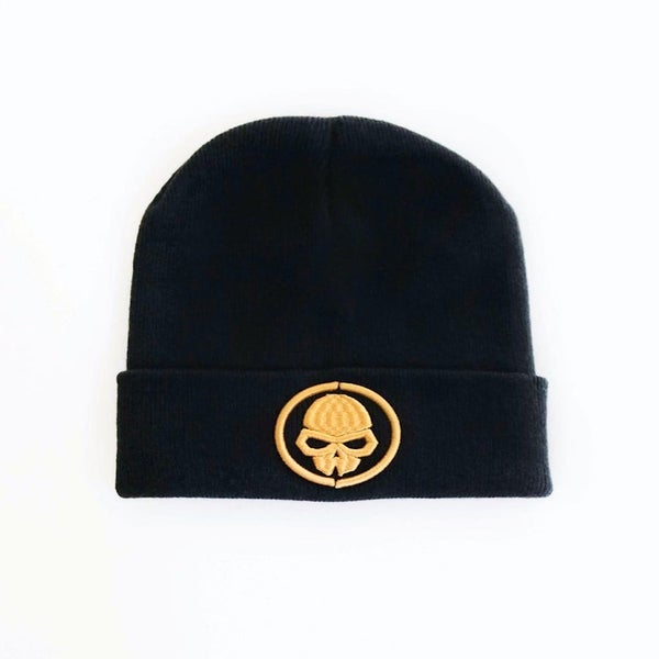 Image of BLACK SKULLDUGGERY BEANIE WITH EMBROIDERED GOLD LOGO