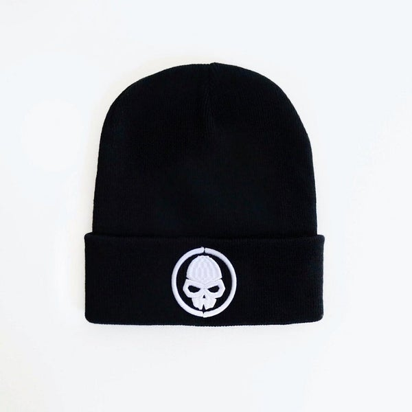 Image of BLACK SKULLDUGGERY BEANIE WITH EMBROIDERED WHITE LOGO