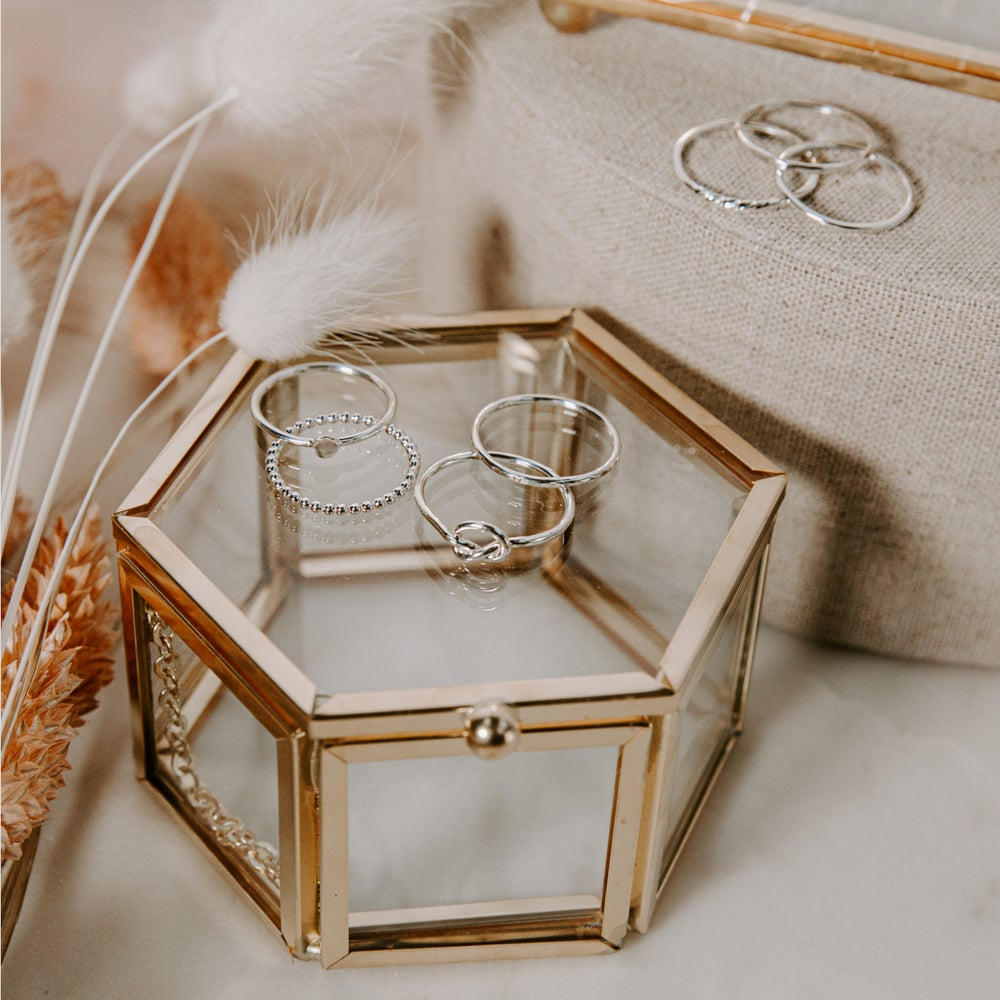 Image of Hexagonal Glass Trinket Box