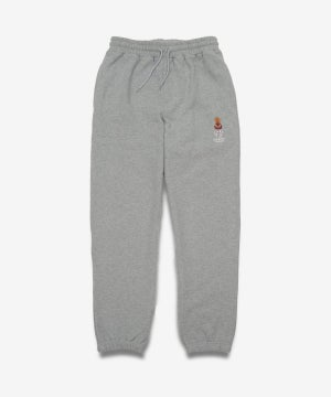 Image of QUARTERSNACKS_EMBROIDERED SNACKMAN SWEATPANTS :::HEATHER GREY:::
