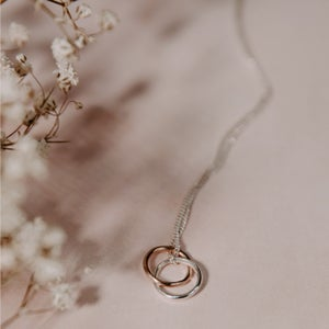 Image of 9ct solid Rose Gold & Silver Necklace