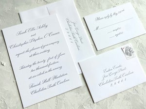 Image of Letterpress Printed 4 Piece Invitation Suite