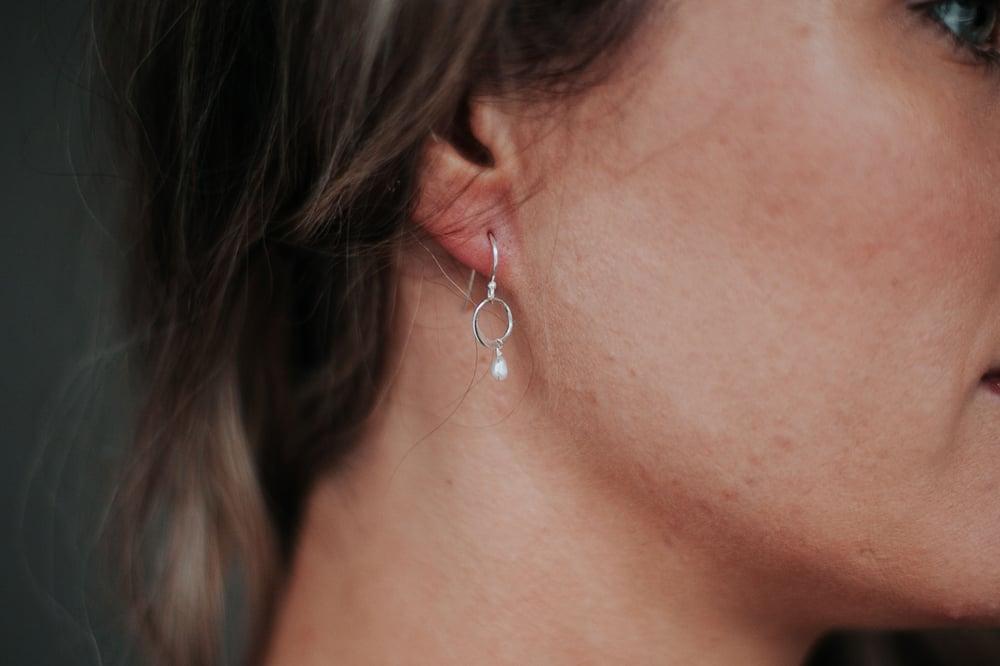 Image of Silver Open Circle Dangle Earrings
