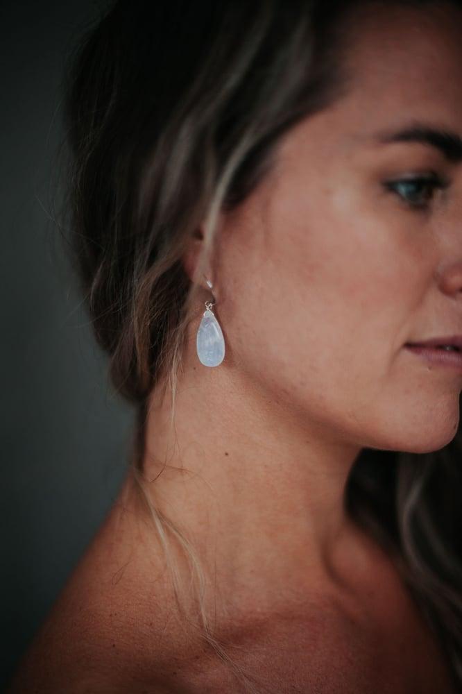 Image of Large Moonstone Teardrop Earrings // Gold