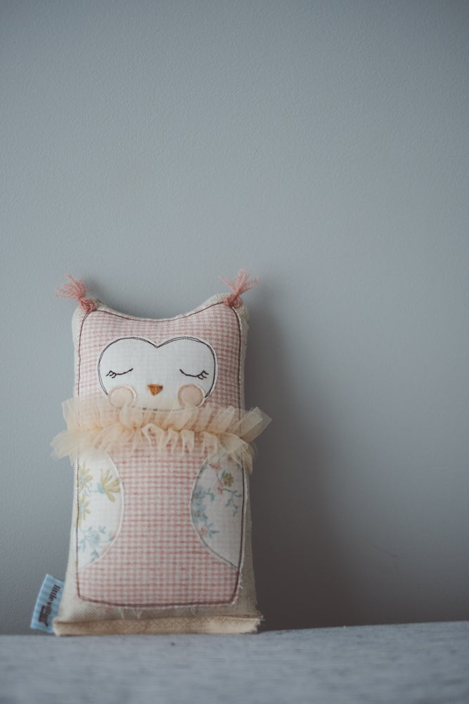 Image of Tiny owl cushion in pink gingham
