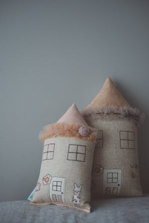Image of Petite bunny house cushion in pink gingham