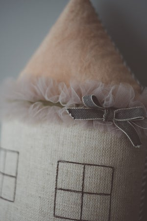 Image of Dusty pink hand-dyed house cushion