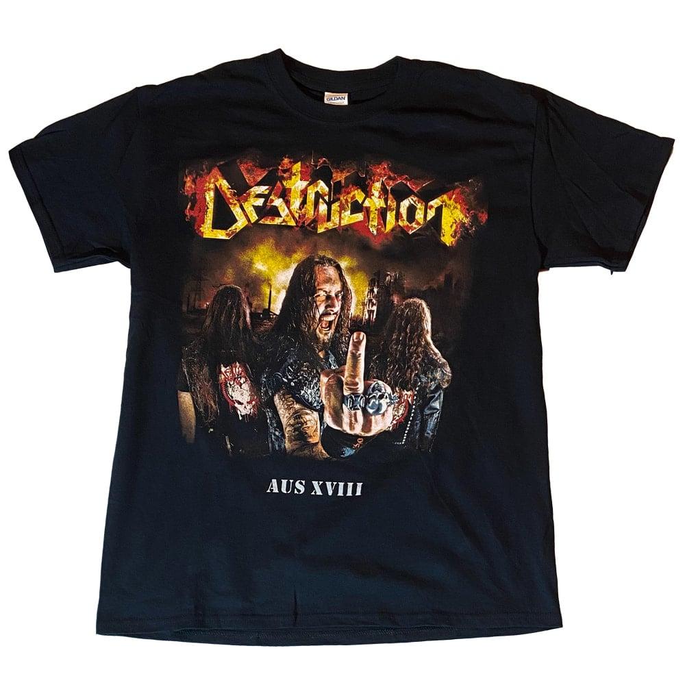 Image of DESTRUCTION - Middle Finger - Aussie Tour Shirt/Dates on Back