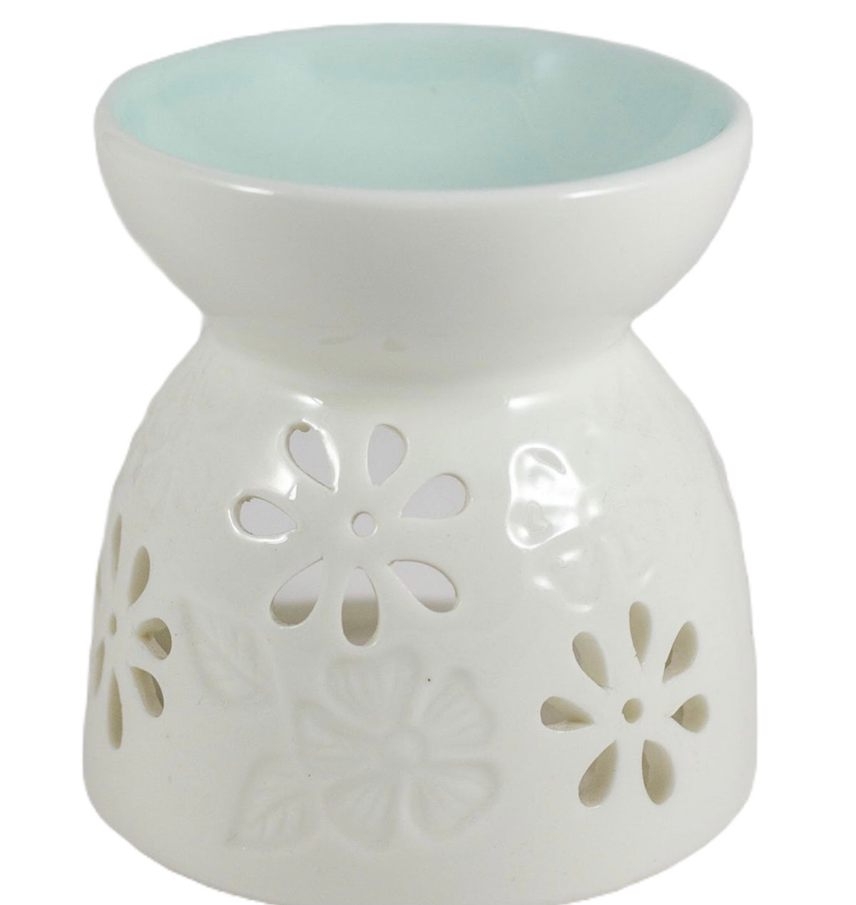 Image of Floral burner with duck egg blue bowl