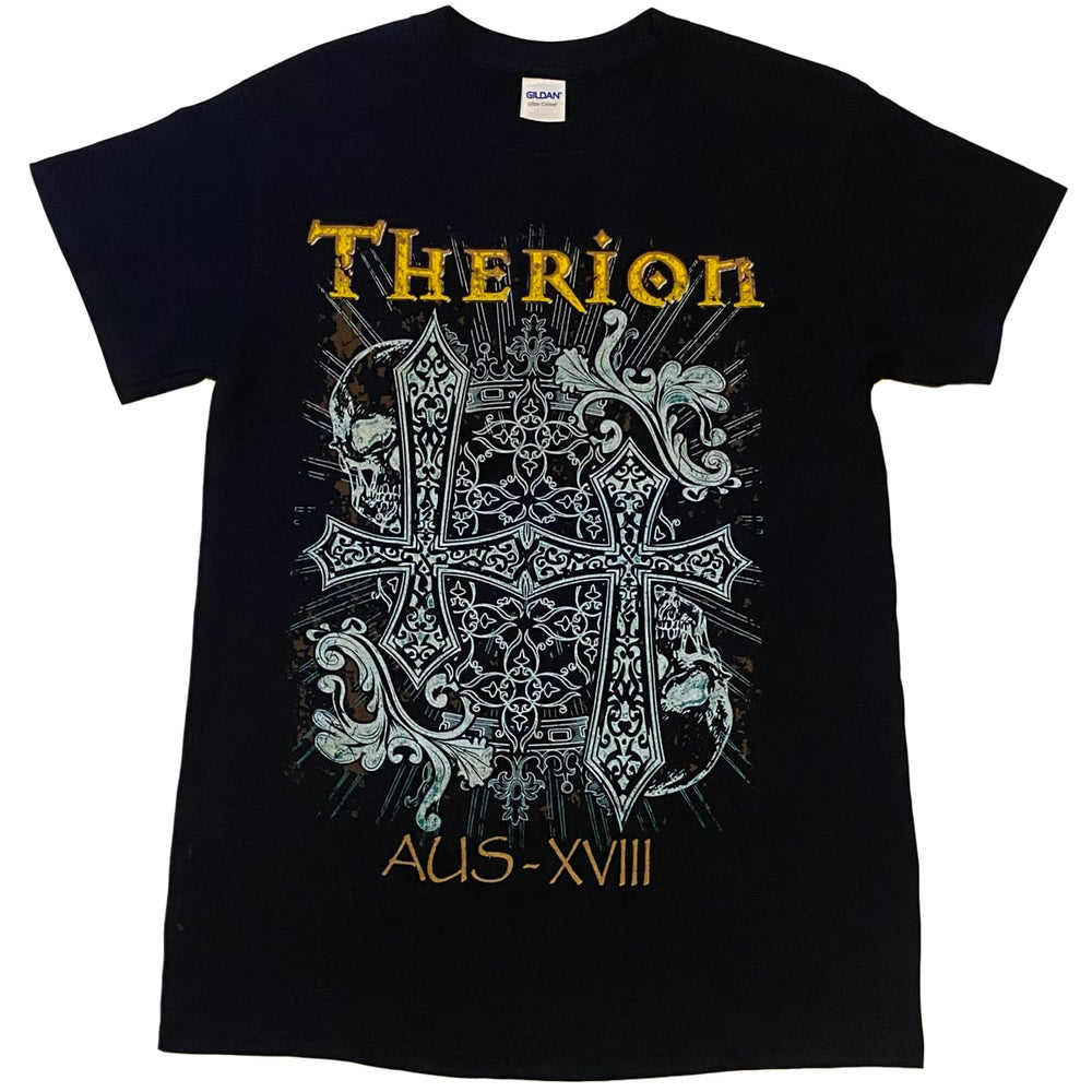 Image of THERION - Beloved Antichrist Cross Design - Aussie Tour Shirt/Dates on Back