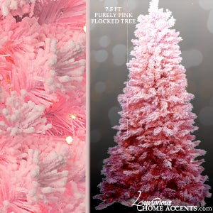 Image of Pink Flocked Christmas Tree With Pink Lights
