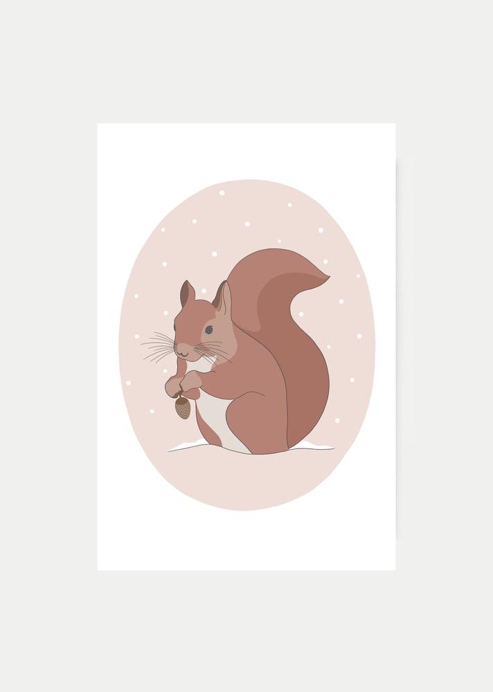 Image of Carte Écureuil et pomme de pin