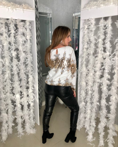 Image of White Sequin Embellished Top