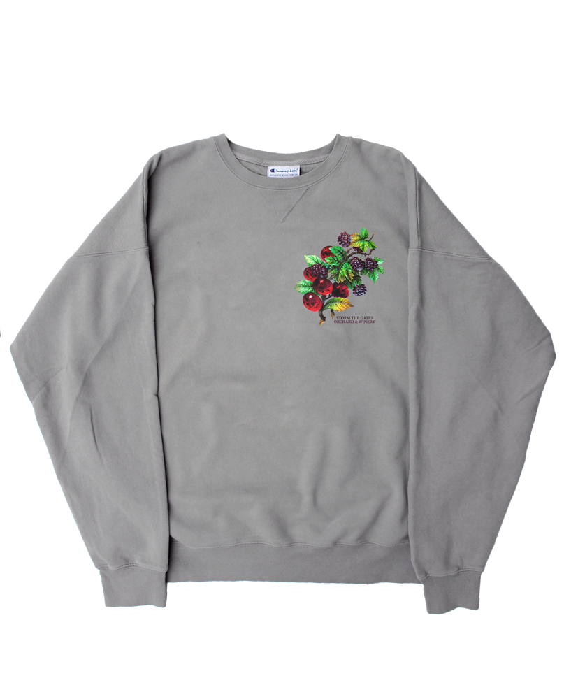 Image of **PRE-ORDER** ORCHARD & WINERY CREWNECK SWEATSHIRT (CONCRETE)