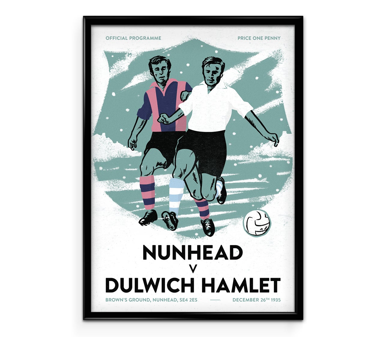 Image of Boxing Day derby – Nunhead vs Dulwich illustrated print