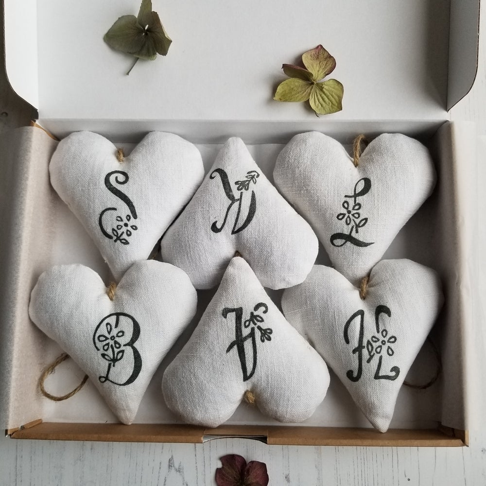 Image of Box Set of 6 Hearts - Grey