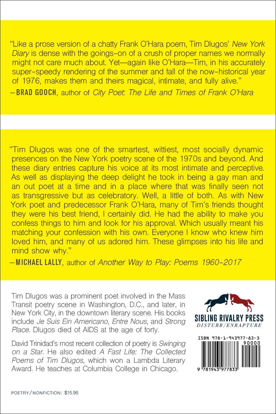 Image of New York Diary by Tim Dlugos, Edited by David Trinidad