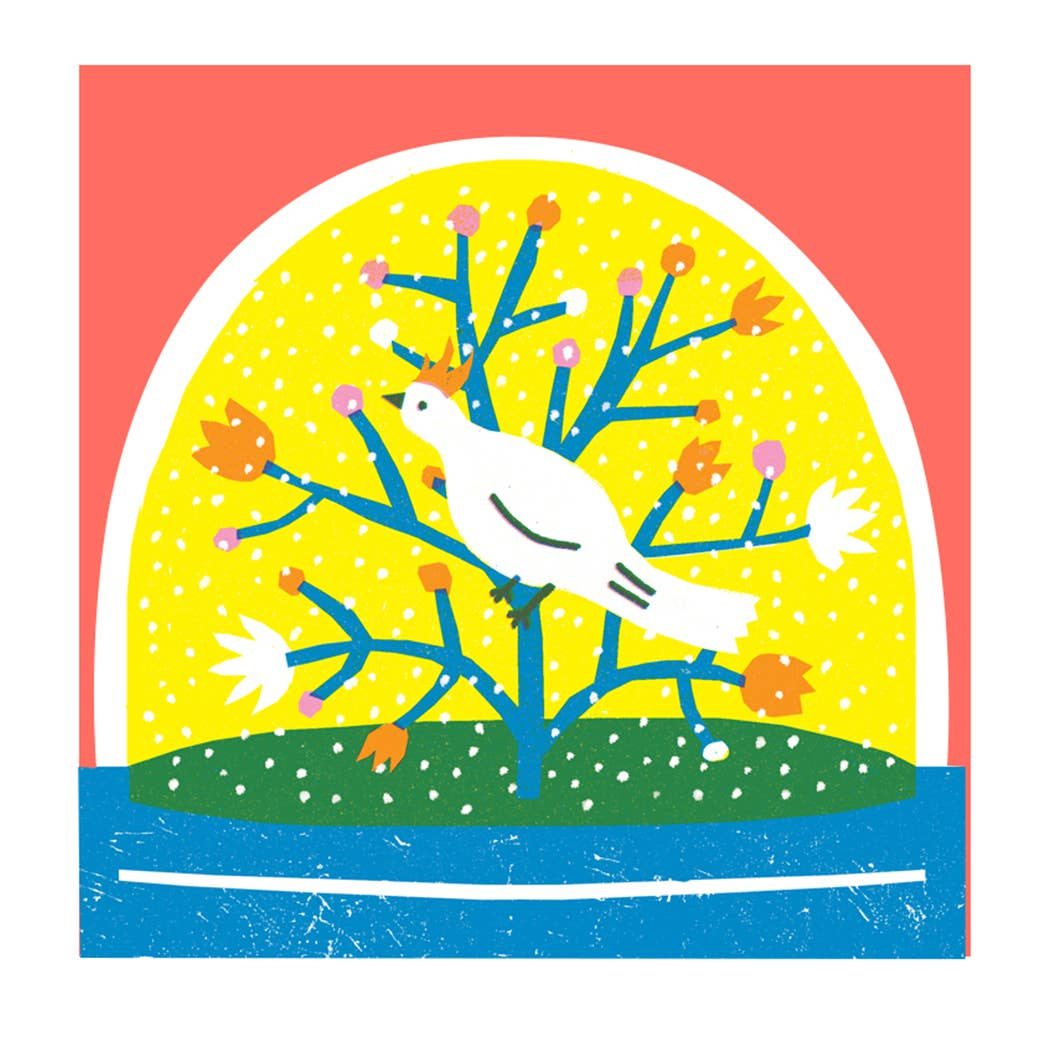 Image of Bird Snowglobe Card