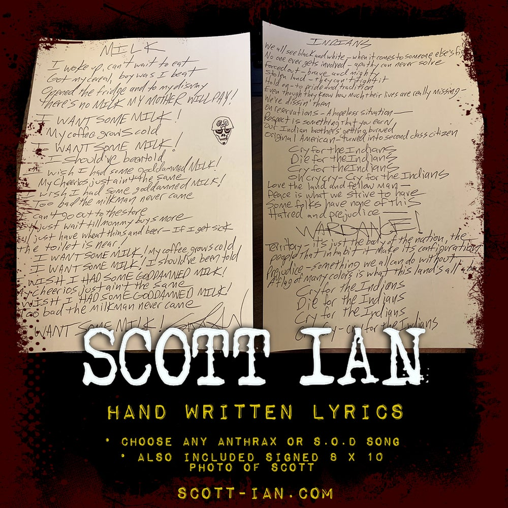 Image of Scott Ian Custom Hand Written Lyrics.