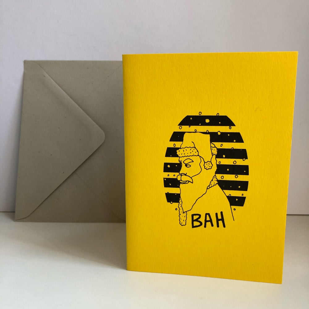 Image of BAH SANTA CHRISTMAS CARD BY FINGSMCR - YELLOW