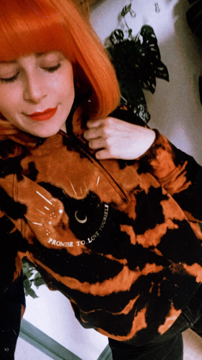 Image of Bleach dye zip up promise to love yourself sweater