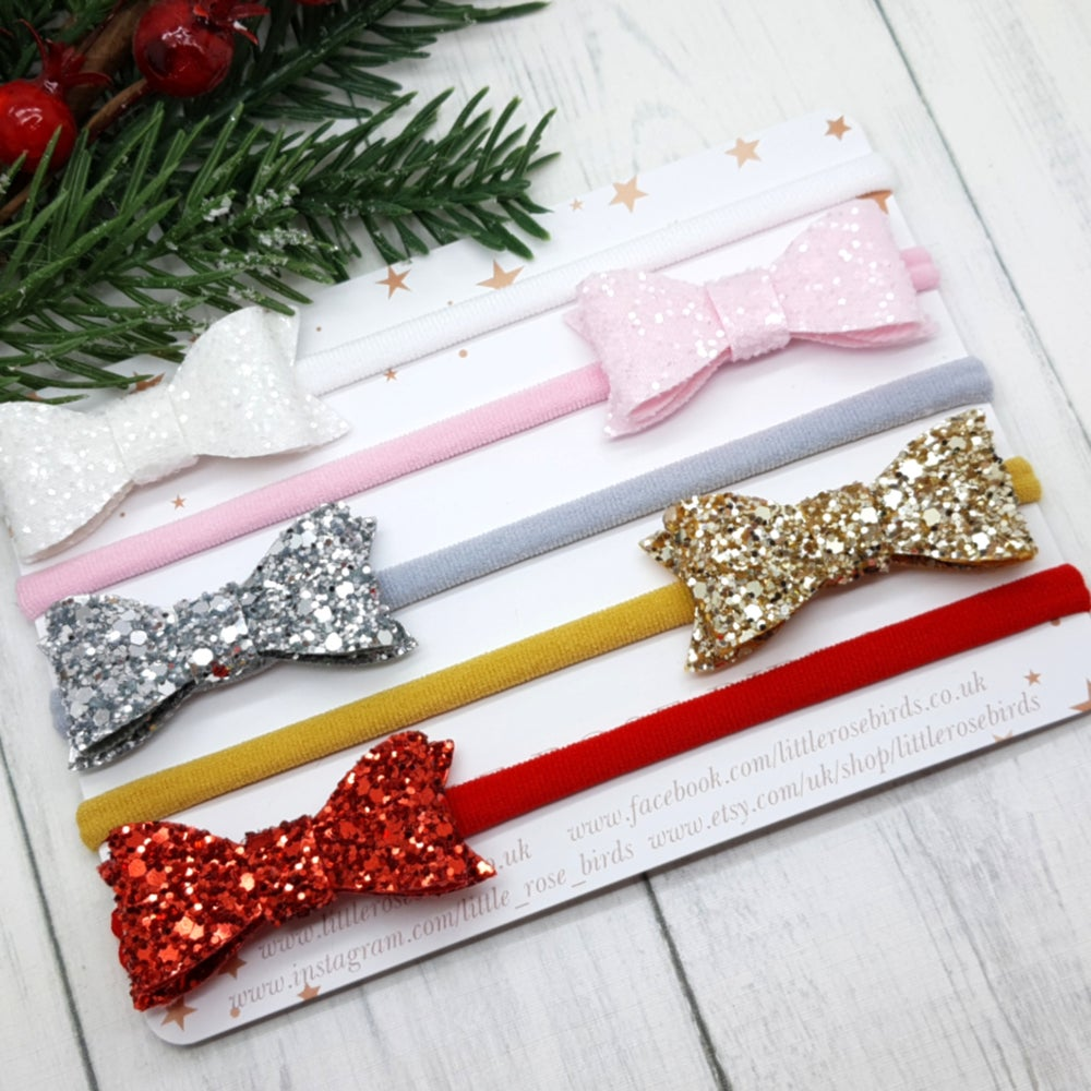 Image of SET OF 5  Christmas Glitter Bows On Headband or Clips