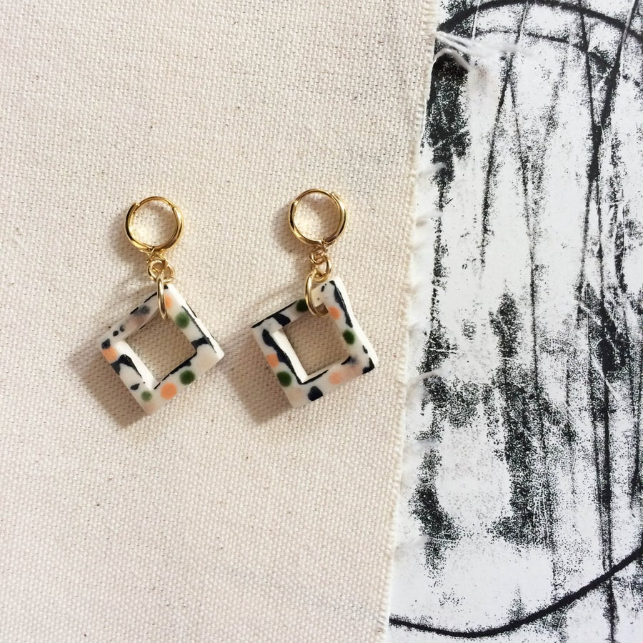 Image of Hollow square drop earrings