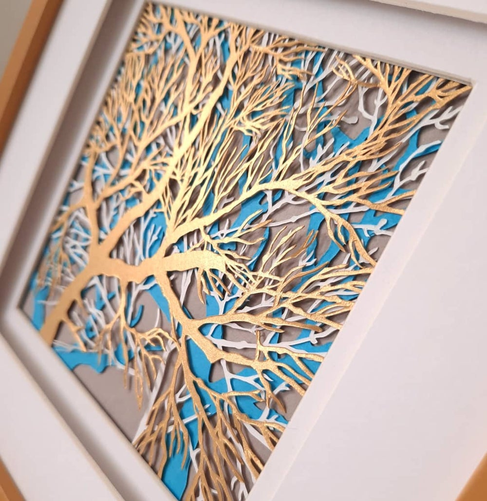 Image of Hand Cut Layered Tree Paper Cutting