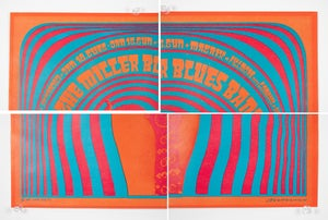 Image of The Miller Blues Band NEON ROSE #2 1967 concert poster VICTOR MOSCOSO Matrix Filmore near Lombard