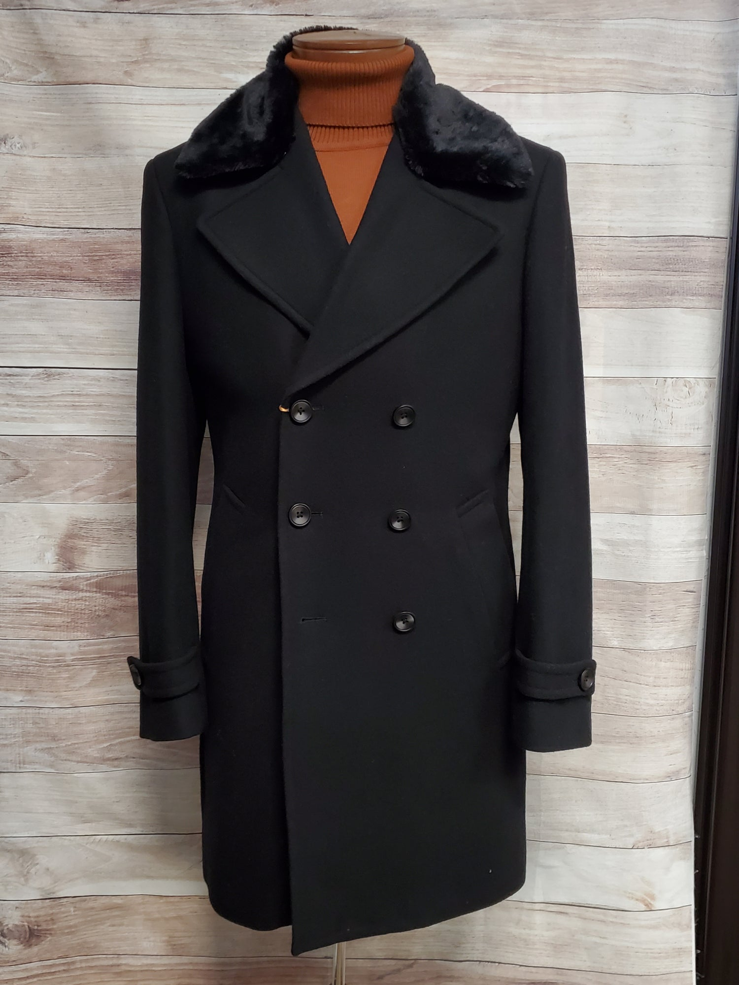 Image of CIGAR COUTURE DOUBLE BREASTED TOP COAT STYLE TC-931 - BLACK