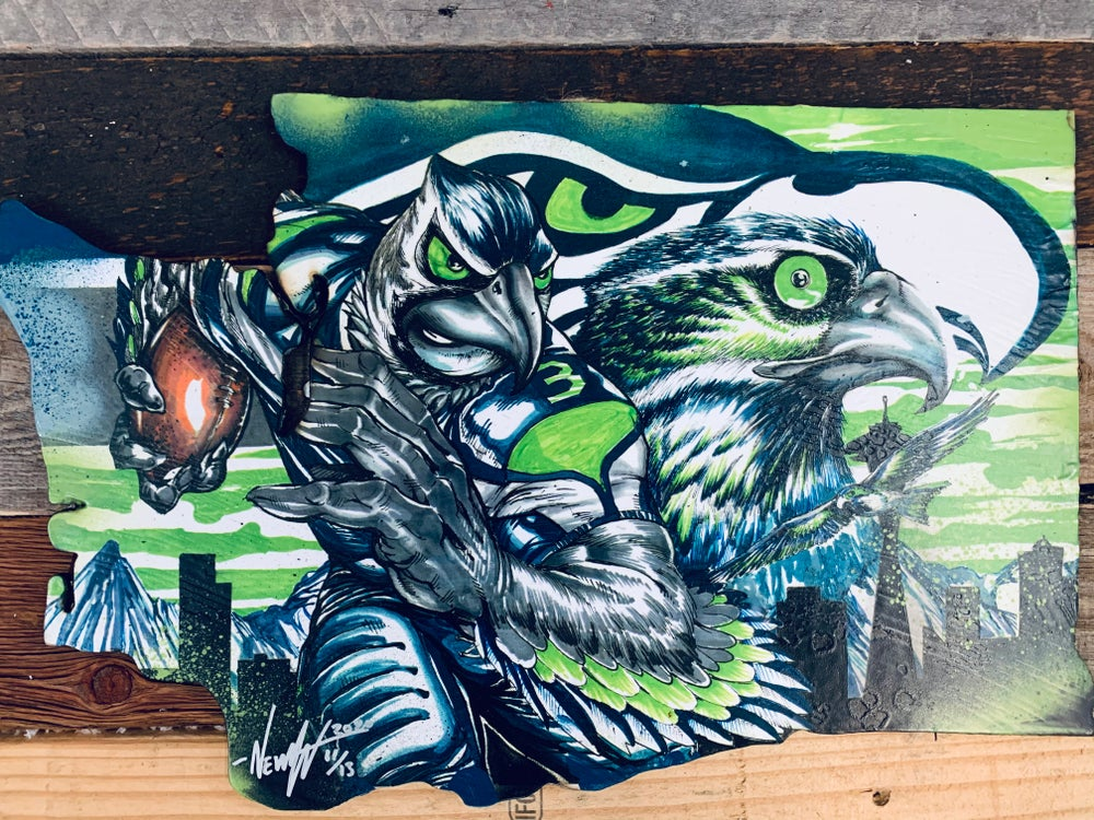 """Image of Seattle Seahawks """"Blitzed by the 12th man""""(Hand Painted Reproduction)"""