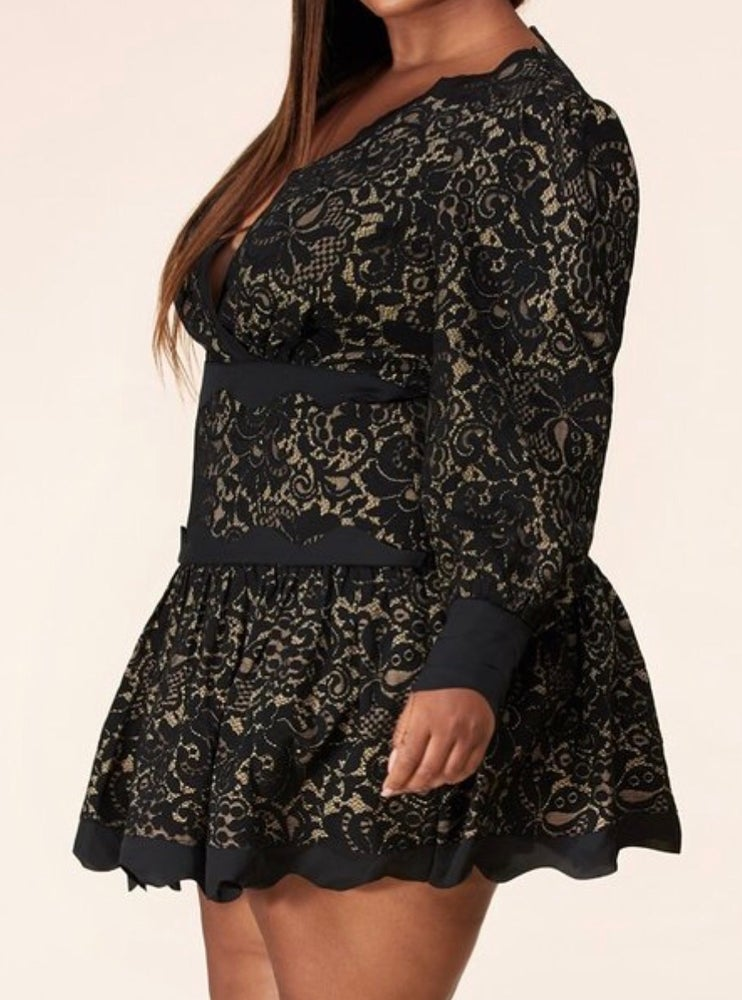 Image of Plus Lace Tiered Mini Dress